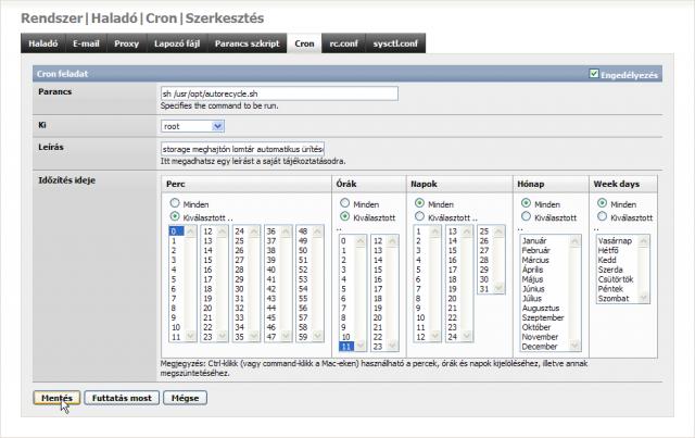 FreeNAS Cron ütemező beállítása az automatikus lomtár ürítés script futtatásához