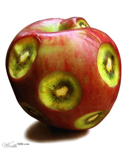 Photoshop gyümölcs: alma-kiwi