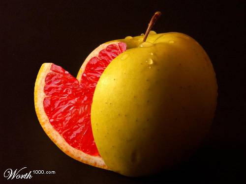 Photoshop gyümölcs: alma-vérnarancs