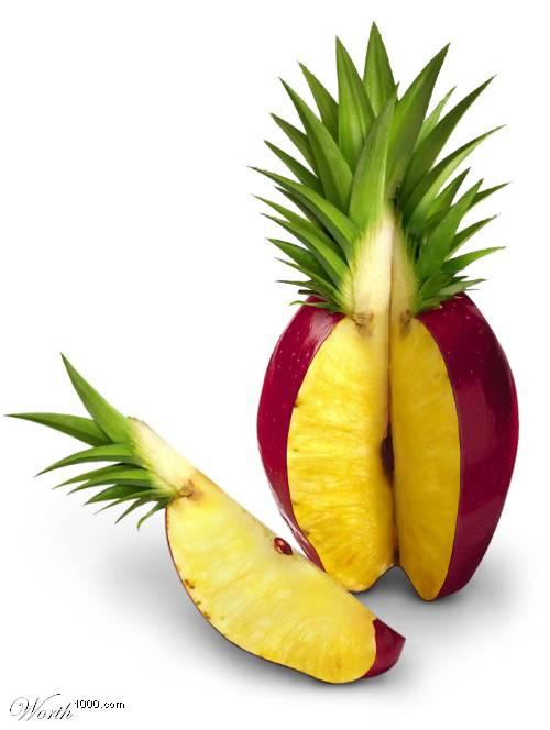 Photoshop gyümölcs: ananász-alma