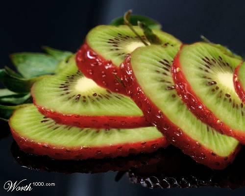 Photoshop gyümölcs: eper-kiwi
