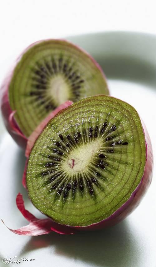 Photoshop gyümölcs: hagyma-kiwi