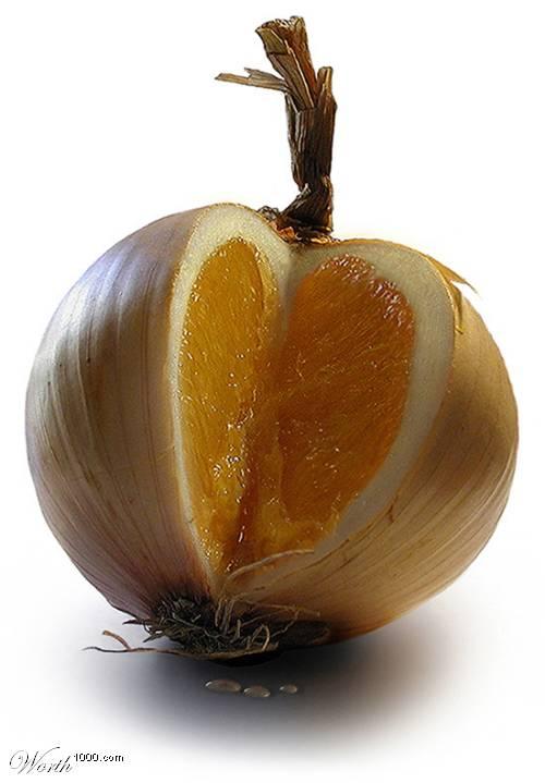 Photoshop gyümölcs: hagyma-narancs