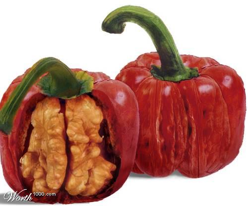Photoshop gyümölcs: paprika-dió