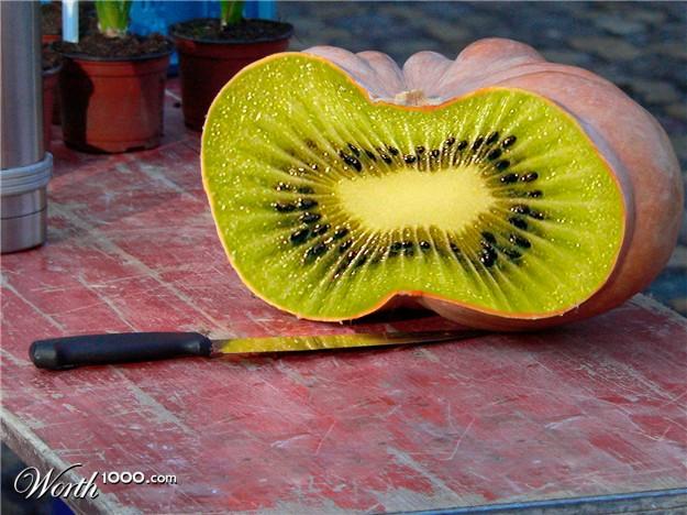 Photoshop gyümölcs: sütőtök-kiwi